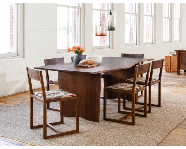 Celilo Dining Chair in Western Walnut with COM Fabric w/ Live Edge Dining Table