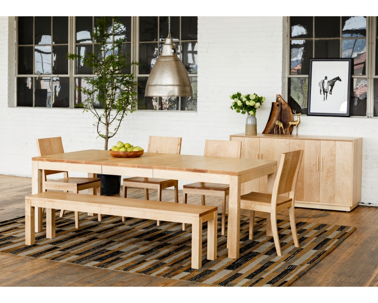 Studio Dining Table in Maple with Studio Dining Chairs and Studio Bench