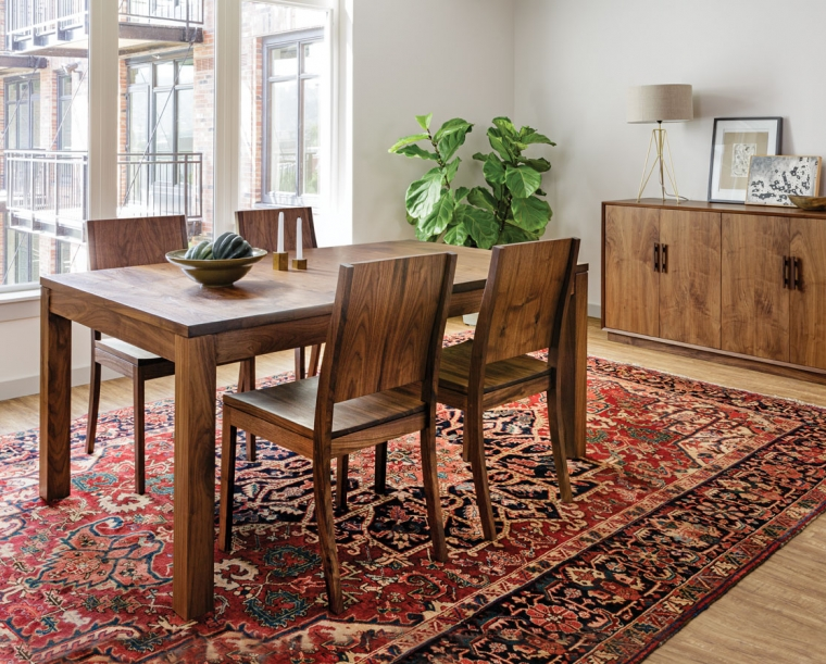 Studio Dining Table in Eastern Walnut with Studio Chairs and Modern Sideboard