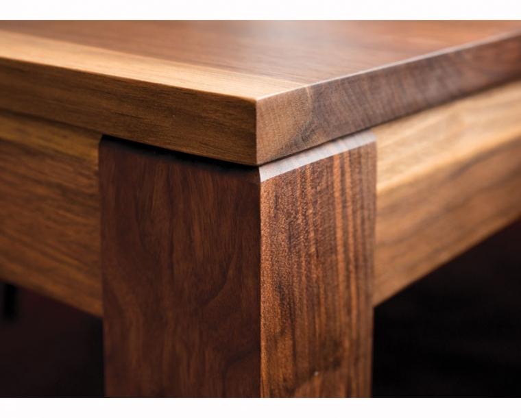 Studio Dining Table leg detail in Western Walnut