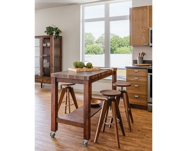 Medium Butcher Block Island In Western Walnut With Teton Stools And Whitman Curi