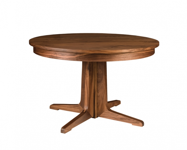 Contemporary Round Pedestal Dining Table in Eastern Walnut
