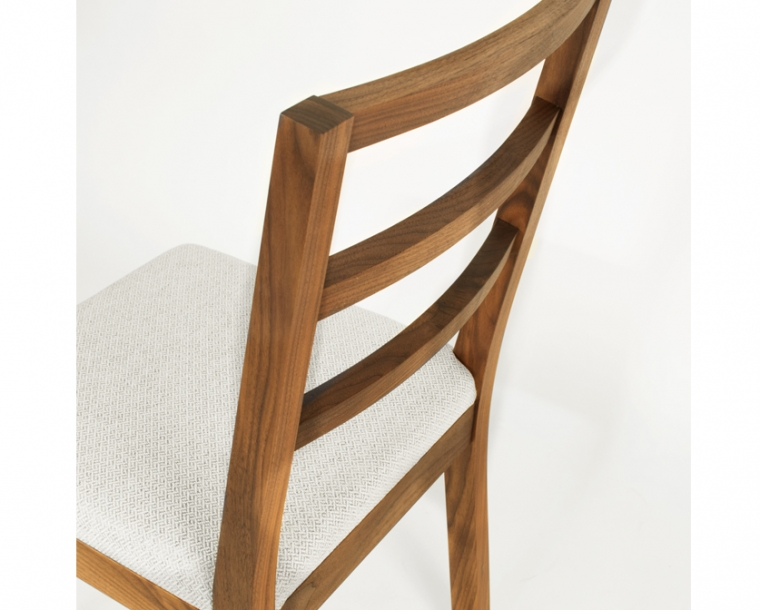 Back detail of Hayden Dining Chair in Eastern Walnut with Twill Weave Platinum
