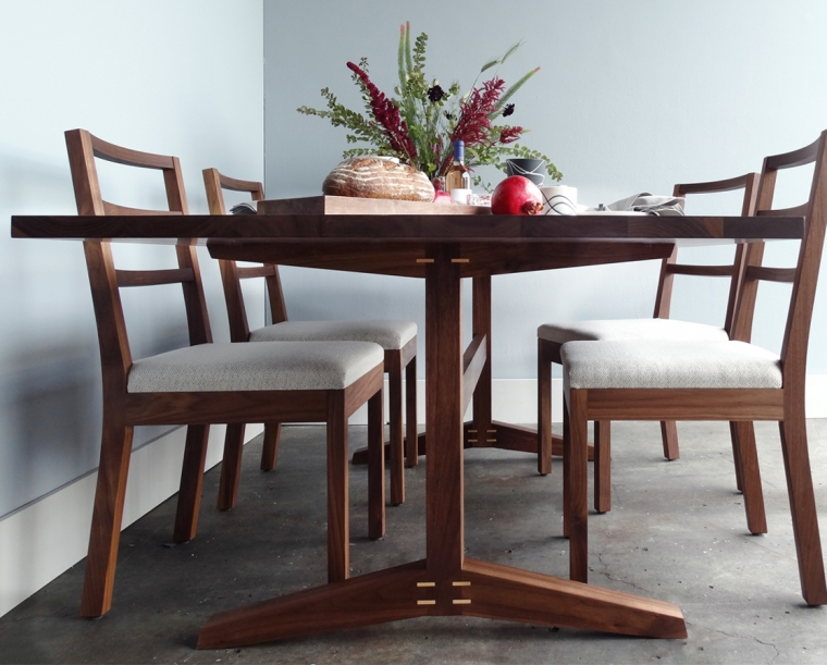 Large Hayden Dining Table in Eastern Walnut with Maple Details