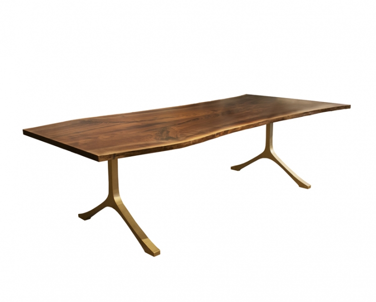 Talos Metal Base Live-Edge Table in Gold Finish