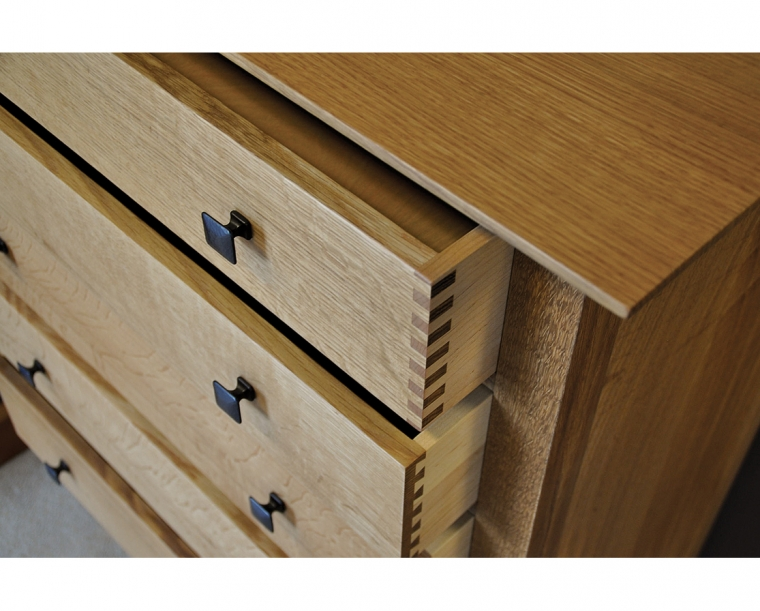 Dunning Dresser in Quartered White Oak with Dunning Knobs and Thru Joints