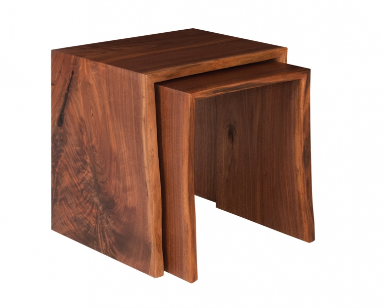 Live-Edge nesting end tables in Western Walnut