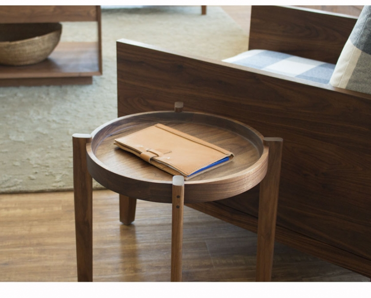 Sebastian End Table in Eastern Walnut with Clyde Lounge Chair