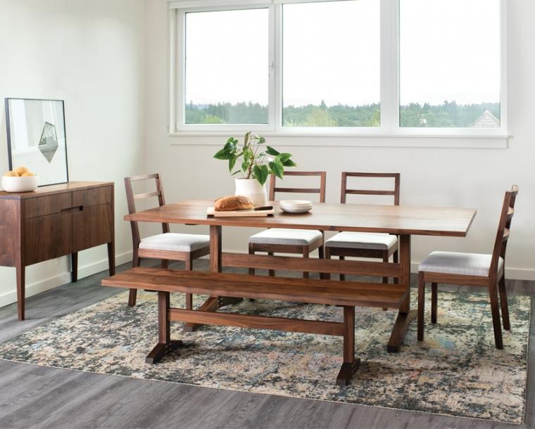 Hayden Dining Chair in Eastern Walnut with Twill Weave Platinum