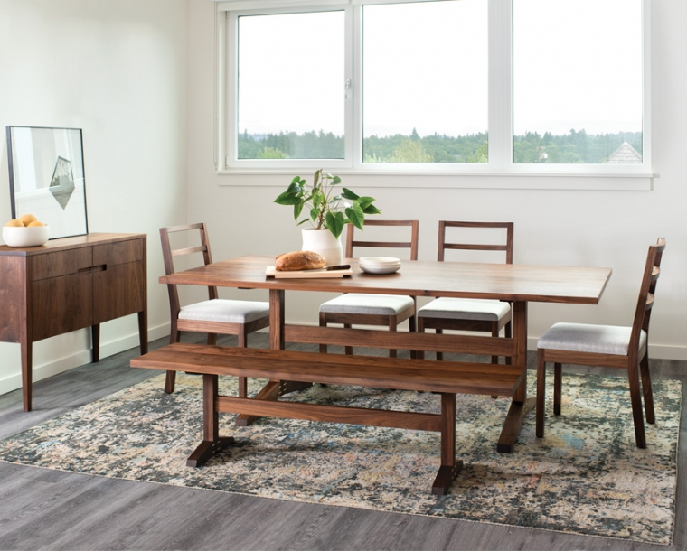 Hayden Dining Table, Chairs, and Bench in Eastern Walnut with Klamath Sideboard