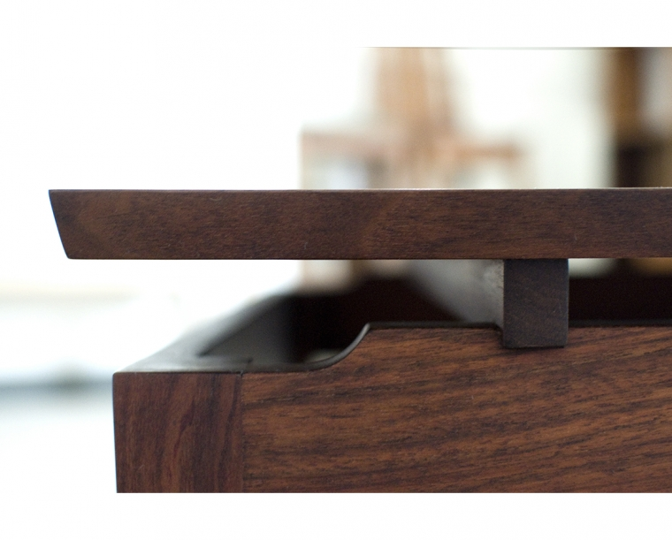 Hochberg Entry Table in Western Walnut Detail