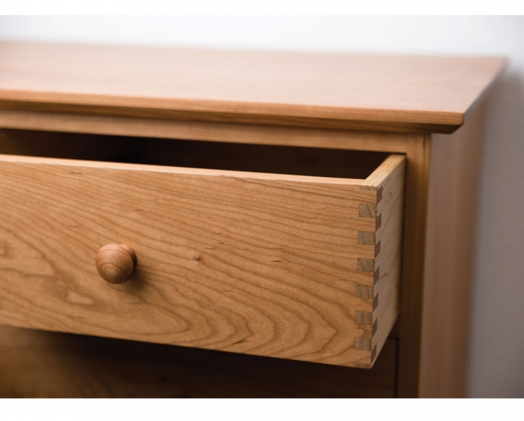 Top Edge Detail in Cherry with Thru Joint Detail on top drawer.