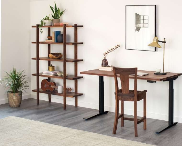 Jarvis standing desk in Eastern Walnut with Sebastian Bookcase and V-back stool