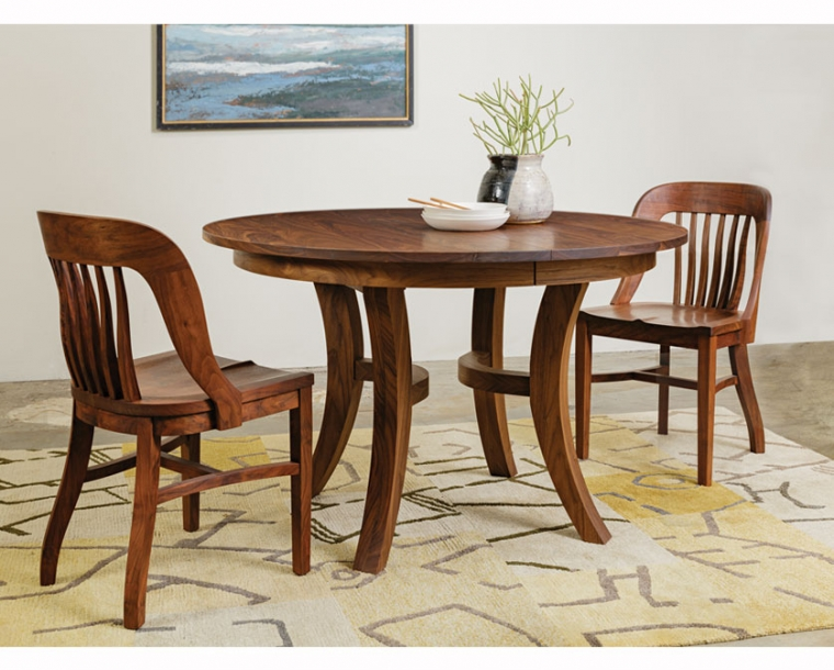 Jost Dining Table in Western Walnut with Banjo Chairs