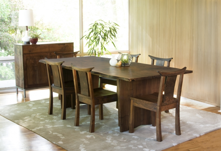 Western Walnut Kyoto Chairs with Live Edge Dining Table