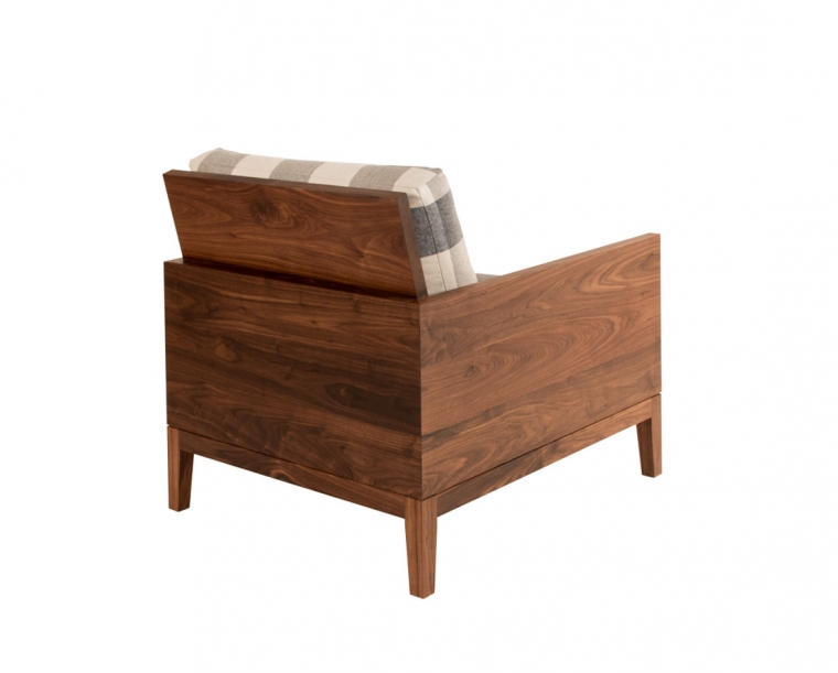 Back of Clyde lounge chair in Eastern Walnut