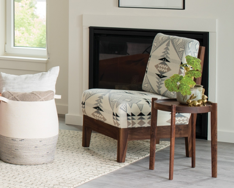 Slipper Chair in Eastern Walnut with special edition Pendleton Wool with Sebastian End Table