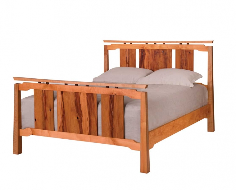 Queen Sapporo Bed in Madrone with Western Walnut Risers Mattress Only