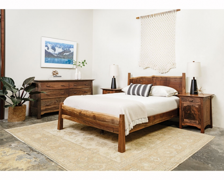 Live Edge Bed with Pacific Nightstand and Low 6-Drawer Dresser in Western Walnut