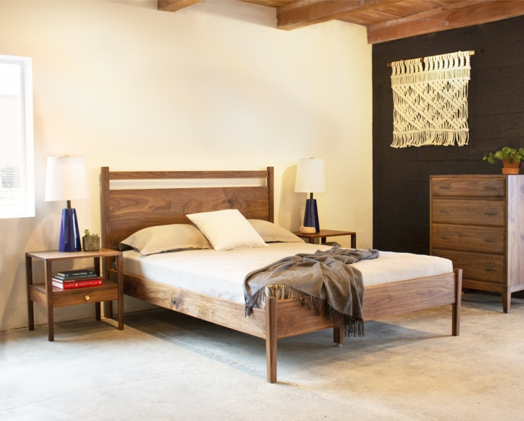 Maud bed and nightstand in Eastern Walnut with Corbett dresser