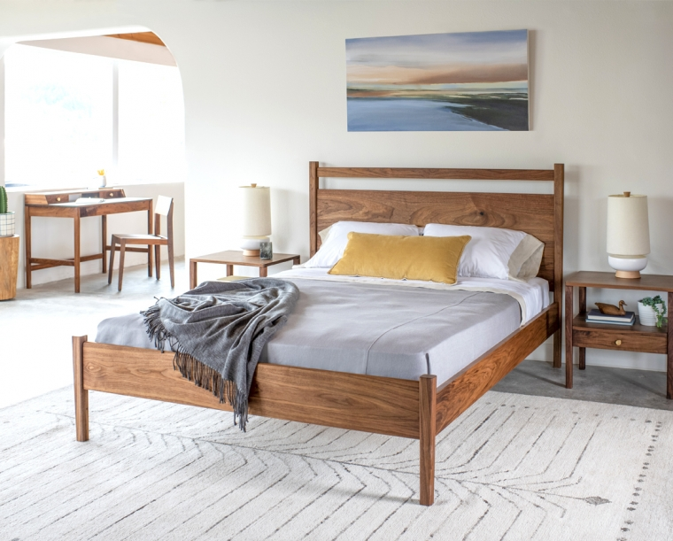 Maud bed in Eastern Walnut with Maud nightstands, Maud desk and Klamath chair.