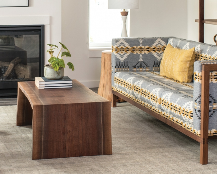 Live-Edge coffee table in Western Walnut with Celilo Sofa