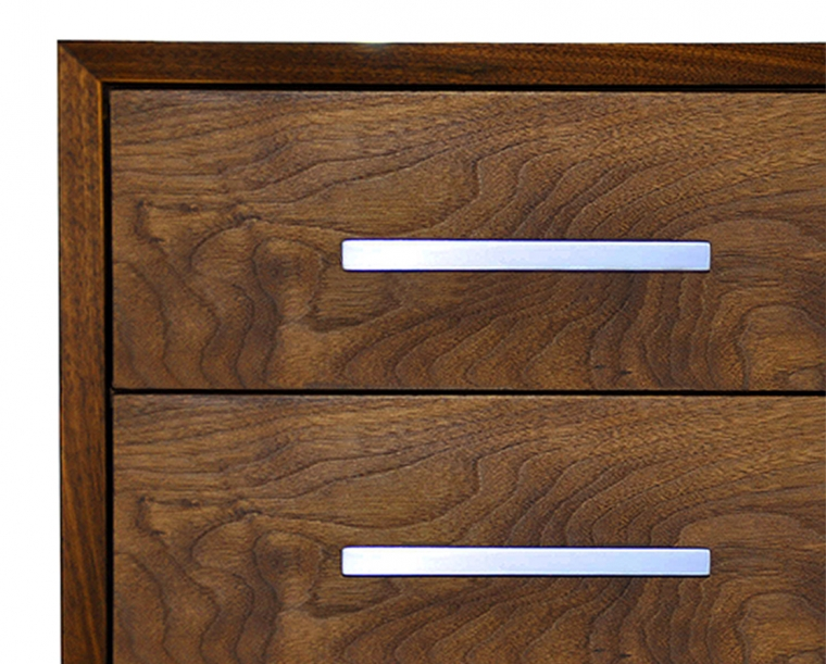 Modern Dresser in Eastern Walnut with Stainless Steel Mission Pull Detail