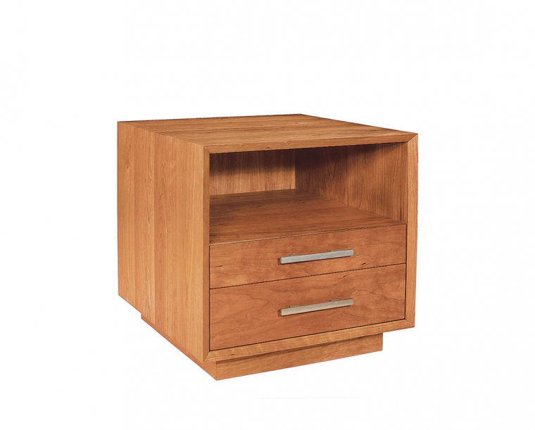 Modern Nightstand in Cherry with Stainless Steel Pulls