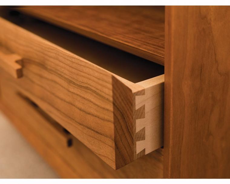 Cherry Modern Nightstand drawer detail