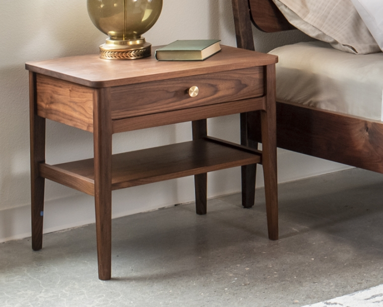 Whitman nightstand in Eastern Walnut with satin brass pull