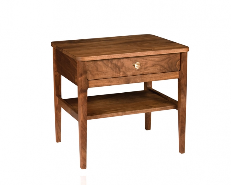 Whitman Nightstand in Eastern Walnut with COM brass knob.