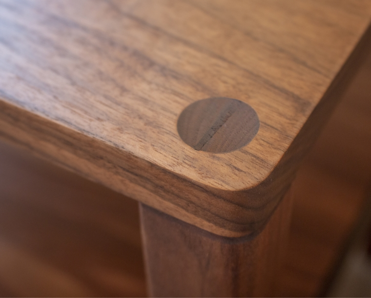 Detail of thru wedged tenon on the top of the nightstand