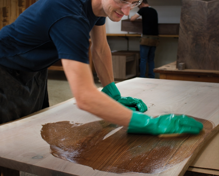 Joinery Oil being applied to Western Walnut