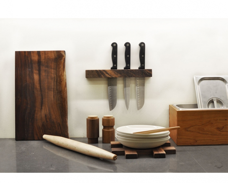 Live Edge Breadboard featured with Joinery compost bin, trivet and knife block