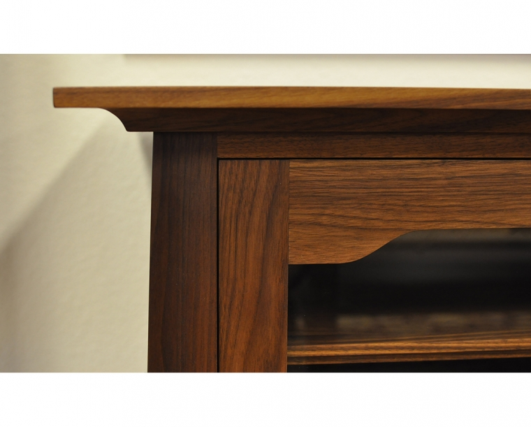 Pacific Entertainment Center Top Detail in Western Walnut