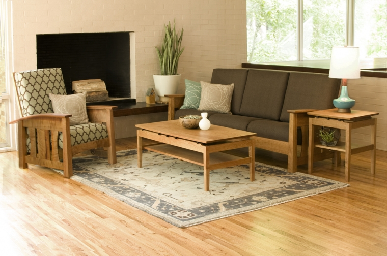 Pacific Chair in Madrone with Cherry Pacific Sofa and Hochberg occasional tables