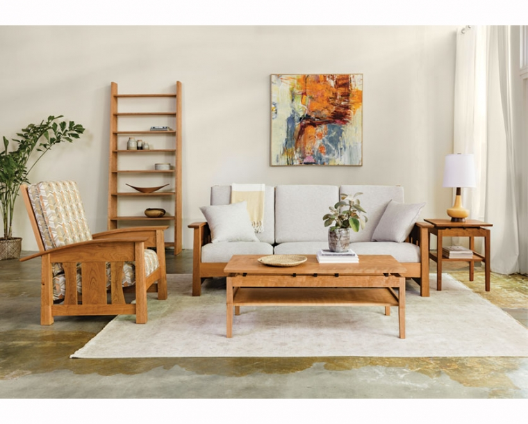 Nelson Bookcase in Cherry with Pacific Living Room vignette