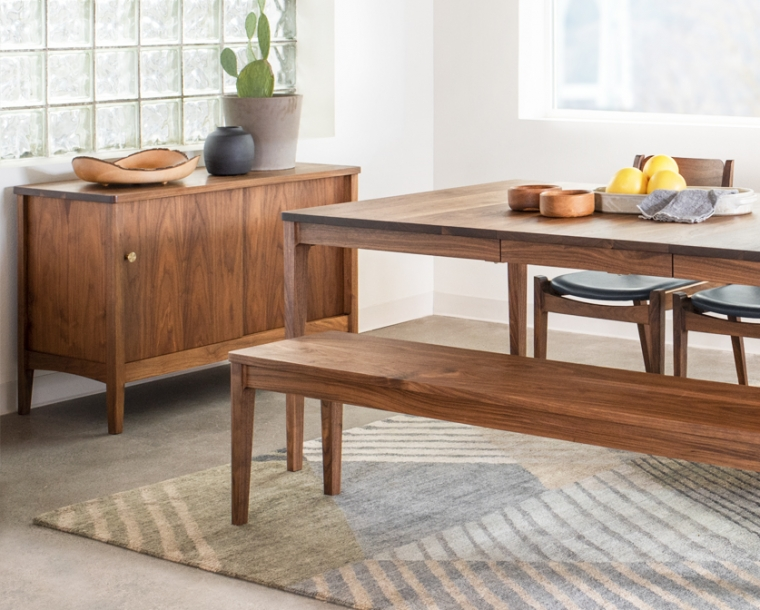 Whitman Sideboard in Eastern Walnut and satin brass knobs. Shown with Whitman dining table and Whitman bench