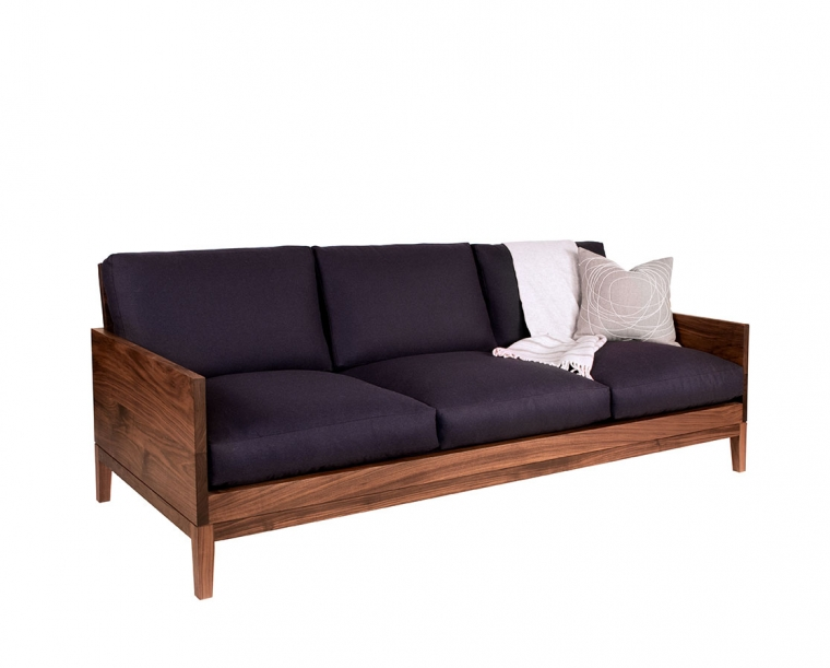 Clyde sofa in Eastern Walnut with Eco Wool Navy