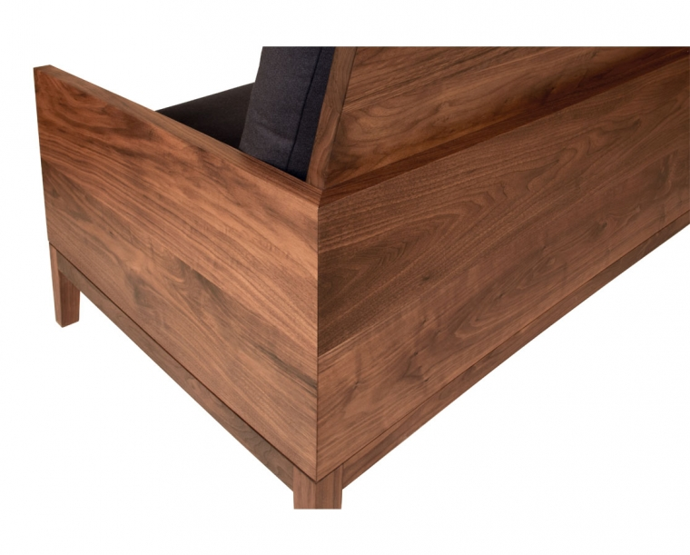 Detail of Back of Clyde Sofa in Eastern Walnut