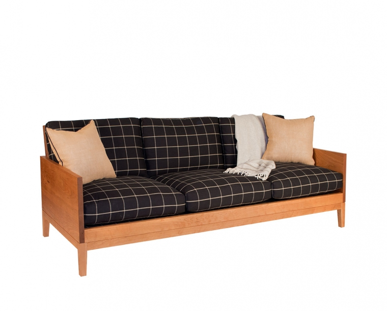 Clyde sofa in Cherry with special order fabric