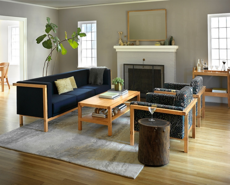 Celilo Sofa in Cherry with Eco Wool Navy with Celilo Coffee Table & Lounge Chair