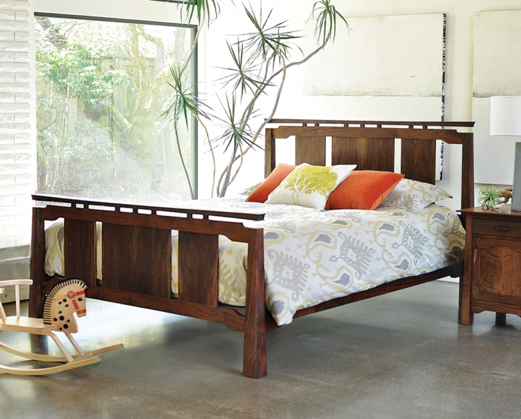 Sapporo Bed in Western Walnut, Mattress Only Set Up with Pacific Nightstand
