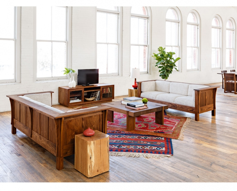Arcadia Coffee Table in Eastern Walnut with Settle Sofas and Century End Table