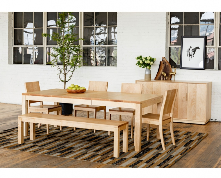 Modern Sideboard with Studio Dining Table, Dining Chairs, and Bench in Maple