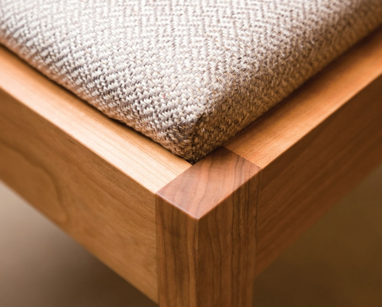 Upholstered Seat detail in Twill Weave Platinum