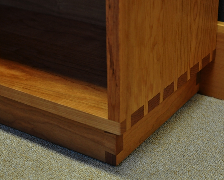 Tansu Bookcase Bottom Detail in Cherry