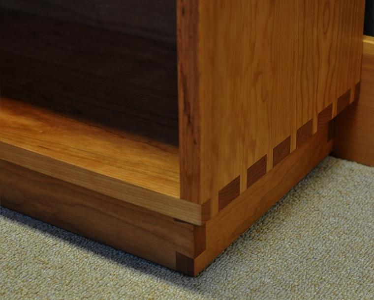 Tansu Bookcase Bottom Detail in Cherry