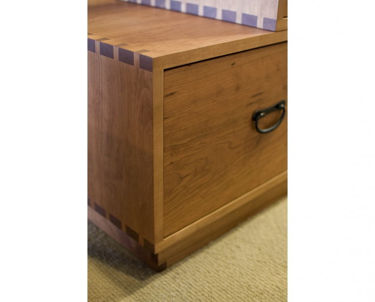 Detail of Tansu in Cherry with Tansu Pulls