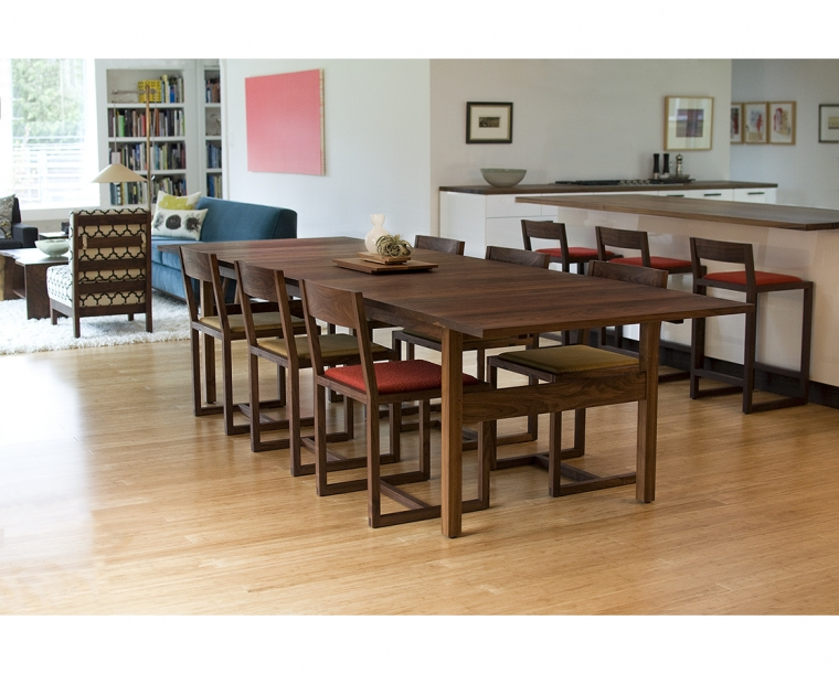 Celilo Dining Table in Eastern Walnut, shown with Celilo Chairs